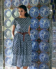 Shop for Ajrakh Print Dress - The Ajrakh print dress is hand printed dress, blue and white cotton print. Western Dresses, Indian Dresses, Indian Outfits, Indian Clothes, Kurta Patterns, Frock Patterns, 90s Fashion, Indian Fashion, Latest Fashion