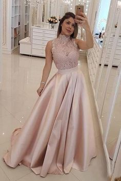 Sparkly Prom Dress, 2019 Glamorous Dusty-Rose A-Line/Princess High Neck Sleeveless Lace Beaded Sleeveless Satin Prom Dress, These 2020 prom dresses include everything from sophisticated long prom gowns to short party dresses for prom. A Line Prom Dresses, Grad Dresses, Long Prom Gowns, Evening Dresses, Formal Dresses, Long Dresses, Ball Dresses, Dress Long, Fancy Dress