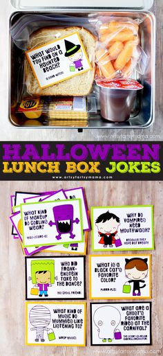 Free Printable Halloween Lunch Box Jokes at artsyfartsymama.com