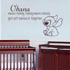 Ohana Means Family Means Nobody Get Left Behind or Forgotten - Lilo Stitch Wall Decal Baby Nursery Vinyl Sticker(Black,s). High quality, grade matte vinyl, 100% Environmental-friendly for Vinyl decal. 100% Original and Excellent design from Decor Palace. Vinyl wall decal suitable for clean, smooth and flat surface, such as mirror, glass,interior & exterior wall, wooden door and so on. Do not apply for rough, uneven surface. Our vinyl decal is easy to remove and easy to peel. It is covered...