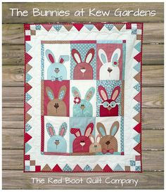 The Bunnies at Kew Gardens  PRINTED pattern by TheRedBootQuiltCo, $14.50