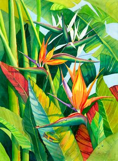 paradise by coleen henry Plant Painting, Painting & Drawing, Jungle Art, Hawaiian Art, Tropical Art, Tropical Paintings, Leaf Art, Mural Art, Botanical Art