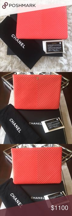 "Chanel O Chevron Leather Clutch In Coral Color Beautiful Authentic Chevron Coral color leather Chanel Large O-Case with silver-tone hardware. Gorgeous summer color. Featuring a metal CC emblem at front face with coral quilted lining and zip closure at top. Like new condition. Comes with box, authenticity cards and dustbag. Measures 10.5""x7.75"". CHANEL Bags Clutches & Wristlets"