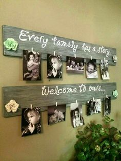 Dreamy Bathroom & Kitchen Remodel Ideas Is a Must in Summer Homes DIY Family Photo Wall Hanging….Every Family Has a Story, Welcome to Ours! Such a great idea! The Best of home decor ideas in Pallet Crafts, Diy Wood Projects, Diy Projects To Try, Woodworking Projects, Pallet Gift Ideas, Home Crafts, Diy And Crafts, Pallet Pictures, Creation Deco