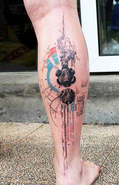 Abstract Tattoo by Klaim Street Tattoo Tattoos Masculinas, Body Art Tattoos, Sleeve Tattoos, Cool Tattoos, Ankle Tattoos, Tattos, Tatoo Trash Polka, Tatuaje Trash Polka, 3d Tattoos