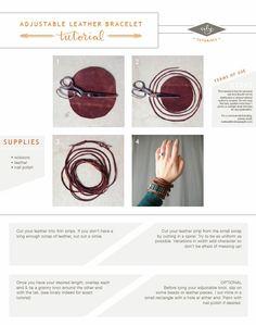 DIY adjustable leather bracelet
