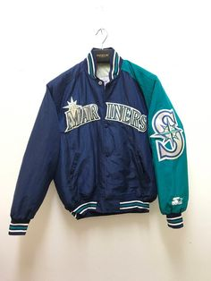 aeee8b794e351 Seattle Mariners Varsity Vintage 90s Rare Mariners Jacket Big Logo MLB  Baseball Starter Jacket Made in USA