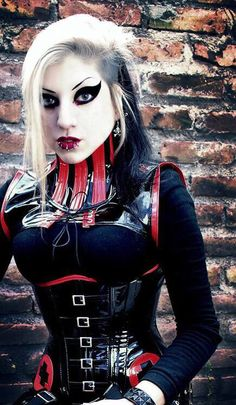 looks just like gidget's eyess <3 #Goth girl in latex in a diesel, Fetish style