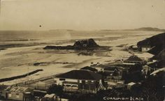 Currumbin Beach and Elephant Rock, with Point Danger in the background, Gold Coast, Queensland, ca. Gold Coast Queensland, Brisbane Queensland, Brisbane City, Queensland Australia, Sunshine State, Sunshine Coast, Historical Photos, Old Photos, Past
