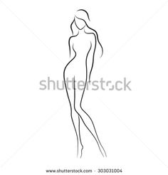 Silhouette of beautiful nude woman vector illustration. Fashion girl with long…