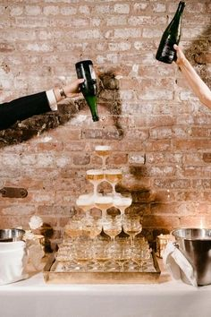 Modern Wedding Ideas Style, Fun & An Ever-Flowing Champagne Tower Complete This Brooklyn Wedding! Jazz Wedding, New Years Wedding, Mod Wedding, Hotel Wedding, Wedding Looks, Wedding Reception, Dream Wedding, Garden Wedding, Champagne Tower