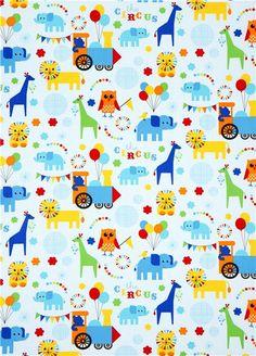 light blue fabric circus animals locomotion Robert Kaufman