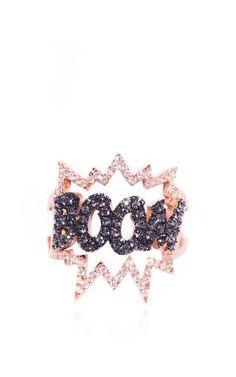 Black diamond boom ring by DIANE KORDAS Preorder Now on Moda Operandi