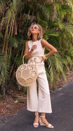 basket bag with cream jumpsuit