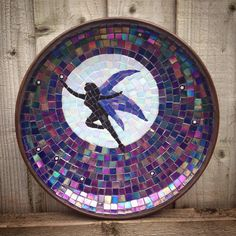 Glass mosaic on a wooden bowl, fairy in the moonlight by fatpoppycat