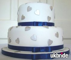 silver and blue heart cake