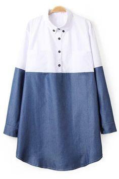 Long Sleeve Hit Color Shirt Dress