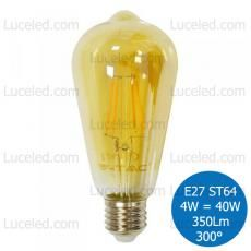 V-TAC VT-1964 LAMPADINA LED BULBO FILAMENTO E27 4W = 40W ST64 FASCIO 300° 350 LM