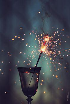 fireworks on a glass