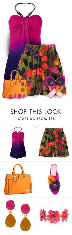 """Tulip Printed Pleated Shorts & Ombre Halter"" by majezy ❤ liked on Polyvore featuring Venus, Dasein, Loeffler Randall, Kenneth Jay Lane, Forest of Chintz and Kate Spade"