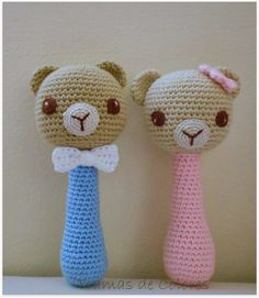 With threads, wool and buttons: sleeper amigurumi payasete (free pattern) Crochet Baby Toys, Crochet Baby Clothes, Crochet Bear, Crochet For Kids, Crochet Animals, Baby Knitting, Crochet Cat Pattern, Crochet Dolls Free Patterns, Crochet Quilt