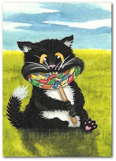 I've pinned several of these today - I have just fallen in love with the whimsical kitties!   (Summer Tuxedo Cat Lollypop - Art by Bihrle on Etsy)