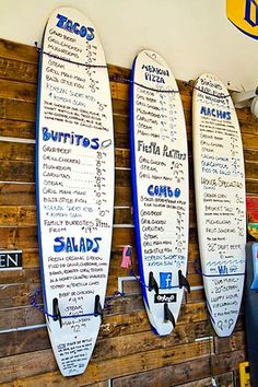 Surf Board Menu Design of Taco Beach Shack, Hollywood