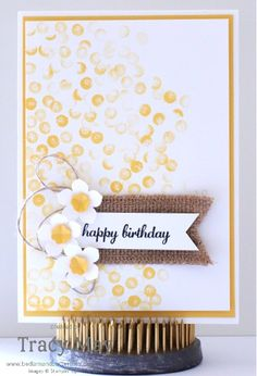 "A ""bokeh effect"" background using Stampin' Up! products  Petite Petals punch"