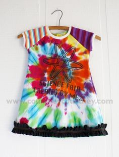 mismatch bold #courtneycourtney #eco #upcycled #recycled #repurposed #tshirt #vintage #dress #girls #unique #clothing #ooak #designer #upscale #tiedye #ruffles #stripes #bold #modern #science