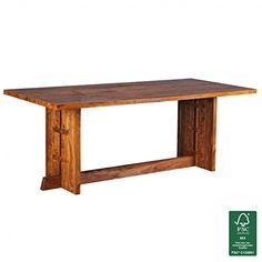 FineBuy Esstisch Massivholz Sheesham 200 x 90 x 76 cm Esszimmer-Tisch Design Küchentisch modern Holztisch Landhaus-Stil rechteckig dunkel-braun Natur-Produkt Massivholzmöbel Echt-Holz unbehandelt