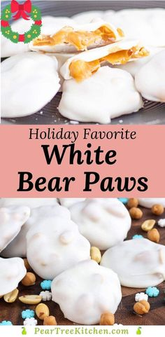 Copycat Recipe for Polar Bear Paws. Chewy caramel clusters with peanuts are dipped in white chocolate. Super easy to make! Christmas Deserts, Christmas Chocolate, Christmas Goodies, Christmas Candy, Christmas Treats, Christmas Recipes, Holiday Recipes, Chocolate Candy Recipes, White Chocolate Candy