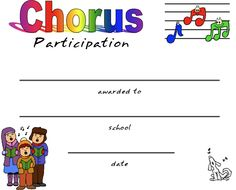 TONS of Certificates for Chorus participation!!! Perfect for our end of the year celebration!! Beth's Music Notes: chorus