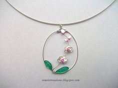 Wire orchid pendant with nail polish by semeistvoadams.blogspot.com