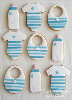 Thinking of serving baby shower cookies at the baby shower? Find beautiful inspiration with 95 adorable baby cookies. Also view diy videos, display tips . Baby Boy Cookies, Baby Shower Cookies, Cute Cookies, Kawaii Cookies, Baby Party, Baby Shower Parties, Baby Shower Themes, Shower Ideas, Torta Baby Shower