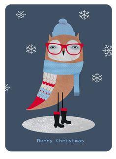 Owl Christmas card design