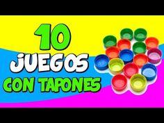 10 juegos con tapones reciclados - YouTube Preschool Activities, Activities For Kids, School Games, Play S, Math Worksheets, After School, Kids Education, Kids Playing, Acting