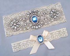 Wedding Garter Set Crystal Rhinestone Pearl Keepsake Toss Garters Something Blue Off