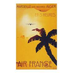 Airplane Over Hawaiian Islands Vintage Travel Poster - decor diy cyo customize home