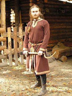 "asatru-ingwaz: "" "" Viking farmers outfit Linen shirt, Slashed woolen tunic decorated with linen bands, Linen braies Source: Sew-mill "" """