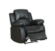 Homelegance 9700BLK-1 Upholstered Recliner Chair, Black Bonded