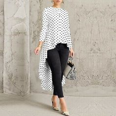 Women Long Sleeve Asymmetrical Hem Shirt Tops Polka Dot Jumper Blouse Plus Size Dressy Casual Women, Casual Tops For Women, Blouses For Women, Long Tops For Girls, Indian Fashion Dresses, Girls Fashion Clothes, Fashion Outfits, Ladies Fashion Tops, Ladies Tops