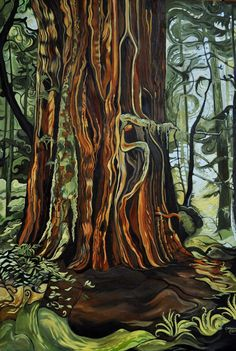 Cheewhat Giant' Original walnut oil painting by Cassandra Dolen Pour Painting, Painting & Drawing, Painting Inspiration, Art Inspo, Canadian Painters, Canadian Artists, Cedar Trees, Landscape Art, Landscape Paintings