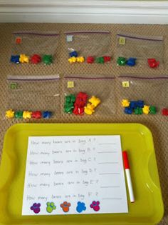 Hands on counting. How many bears are in bag A?, etc.