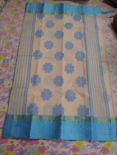 Cream and Sky Aanchal Tangail Saree BT2015 .  Color : Cream-Sky-2015, Cream-Gray-2015A, Cream-Pesta-2015B, Cream-Khaki-2015C, Cream-Red-2015D
