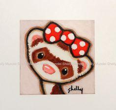 PRINT from Original Painting  Sable Ferret by ShellyMundelArt, $10.00