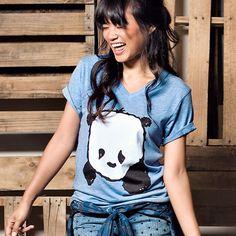 """""""Baby Panda"""" V-Neck (Light Blue Heather)"""