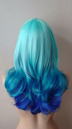Ombre hair - yahoo image search results mermaid hair color d Blue Ombre Wig, Ombre Wigs, Ombre Hair Color, Cool Hair Color, Hair Colors, Blue Wig, Colours, Curly Hair Care, Curly Hair Styles