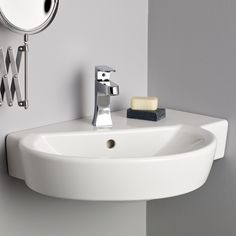Shop for the Barcelona Wall Mount Corner Sink by Cheviot Products and compare to other Wall Mount Sinks. The wall mounted Barcelona corner sink provides convenient counter top space in a small space. Wall Mounted Bathroom Sinks, Wall Mounted Tv, Bathroom Fixtures, Corner Sink Bathroom Small, Lavatory Sink, Cloakroom Sink, Sink Faucets, Washroom, Taps