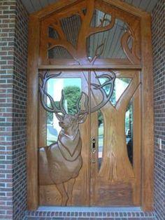 Deer & tree front door made from wood Art Nouveau, Art Deco, Sunset Valley, Beautiful Front Doors, Unique Doors, Cool Doors, Wooden Doors, Rustic Doors, Entry Doors