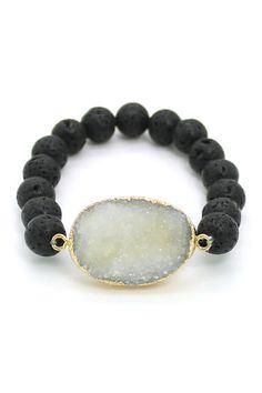 Druzy and  Lava Stone Bracelet ❥